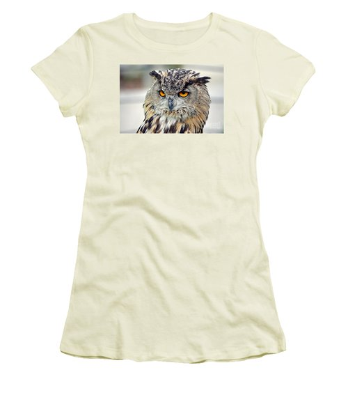 Women's T-Shirt (Junior Cut) featuring the photograph Portrait Of A Great Horned Owl II by Jim Fitzpatrick