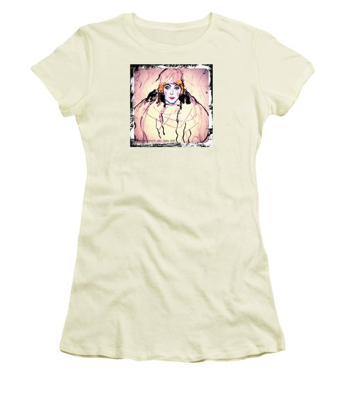 Portrait Of A Lady En Face After Gustav Klimt Women's T-Shirt (Junior Cut) by Anna Porter