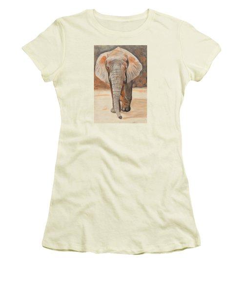 Portrait Of An Elephant Women's T-Shirt (Junior Cut) by Jeanne Fischer