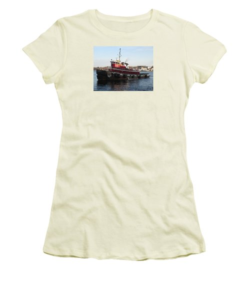 Portsmouth Harbor Tug Boat Winter Women's T-Shirt (Athletic Fit)