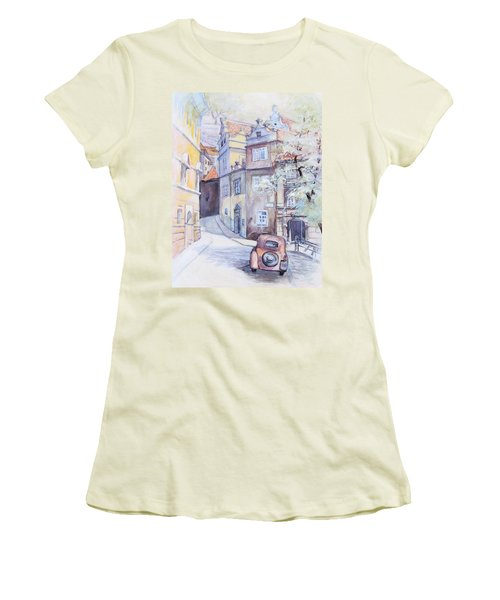 Prague Golden Well Lane Women's T-Shirt (Junior Cut) by Marina Gnetetsky