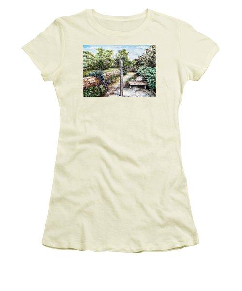 Prayer Wheel At Pacifica's Lambert Campus- Postcard Women's T-Shirt (Junior Cut) by Danuta Bennett
