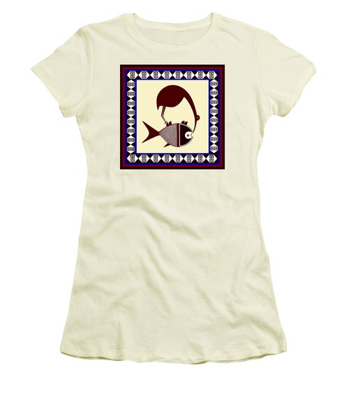 Women's T-Shirt (Junior Cut) featuring the digital art Pre-columbian Stork Fish by Vagabond Folk Art - Virginia Vivier