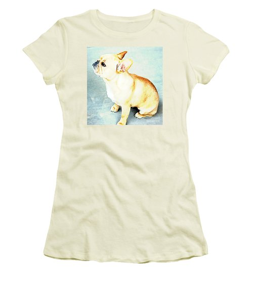Women's T-Shirt (Junior Cut) featuring the painting Profile In Frenchie by Barbara Chichester