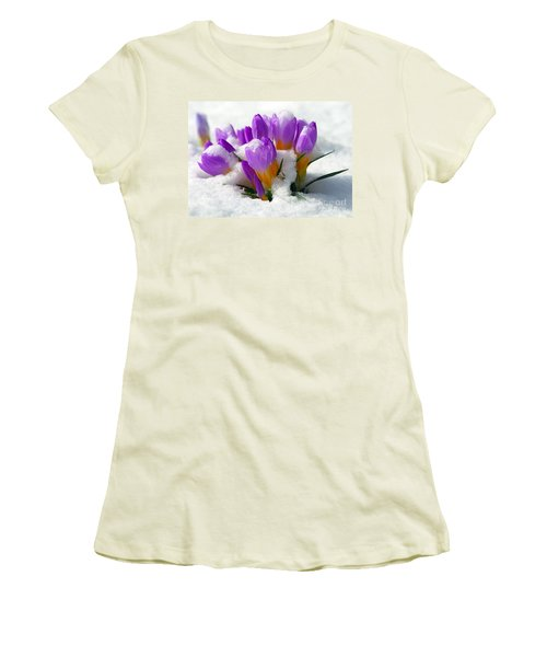 Purple Crocuses In The Snow Women's T-Shirt (Athletic Fit)