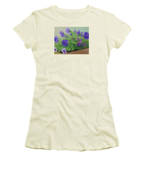 Purple Pansies Colorful Original Oil Painting Flower Garden Art  Women's T-Shirt (Athletic Fit)