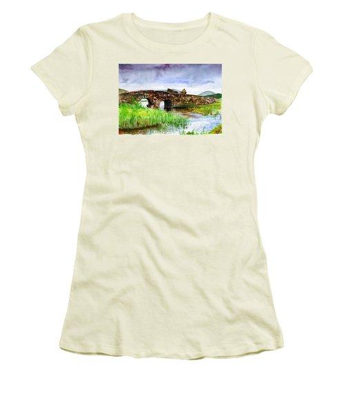 Quiet Man Bridge Ireland Women's T-Shirt (Junior Cut) by John D Benson