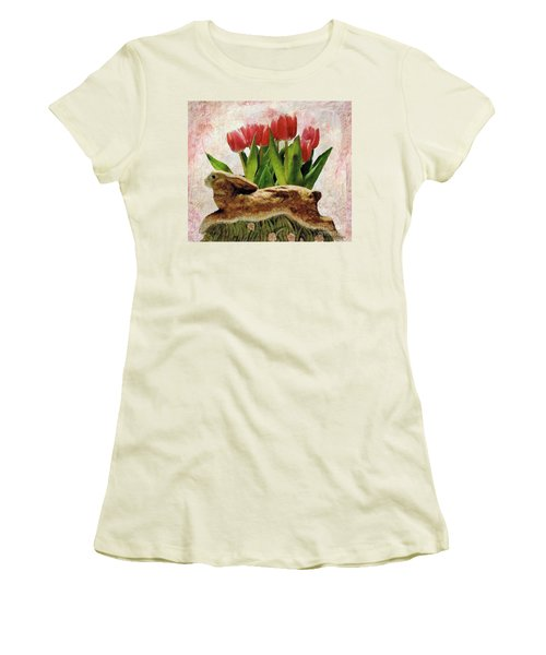 Rabbit And Pink Tulips Women's T-Shirt (Junior Cut) by Janette Boyd