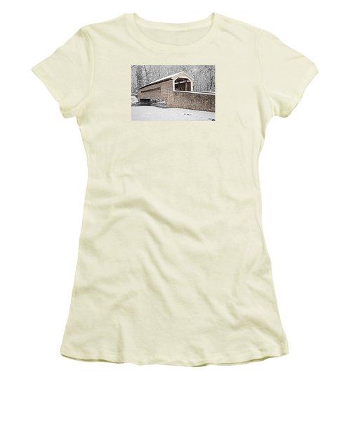 Rapps Bridge In Winter Women's T-Shirt (Junior Cut) by Michael Porchik