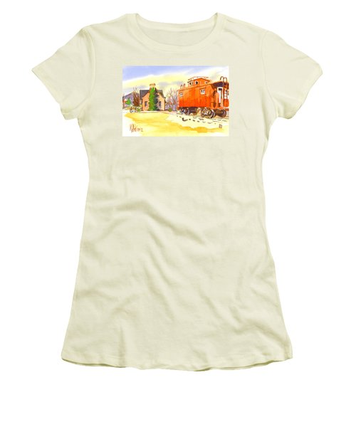 Red Caboose At Whistle Junction Ironton Missouri Women's T-Shirt (Junior Cut) by Kip DeVore