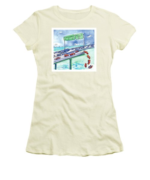 Red Cars Drop Off A Bridge Under A Sign That Says Women's T-Shirt (Junior Cut) by Michael Crawford