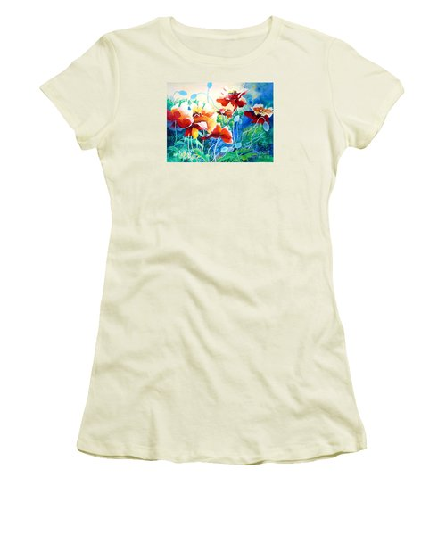 Women's T-Shirt (Junior Cut) featuring the painting Red Hot Cool Blue by Kathy Braud