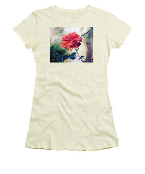 Red Rose On A Branch Women's T-Shirt (Junior Cut) by Greta Corens