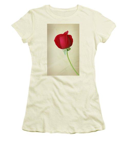 Red Rose On White Women's T-Shirt (Junior Cut) by Sandy Keeton