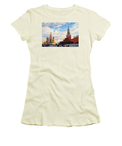 Red Square Of Moscow - Featured 3 Women's T-Shirt (Junior Cut) by Alexander Senin