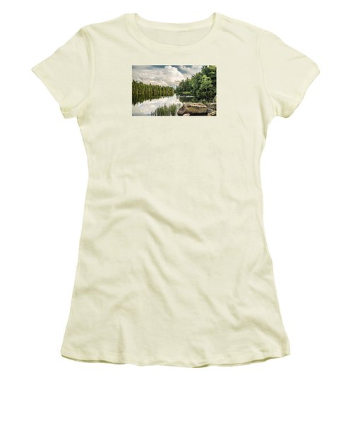 Women's T-Shirt (Junior Cut) featuring the photograph Reflection Lake In New York by Debbie Green