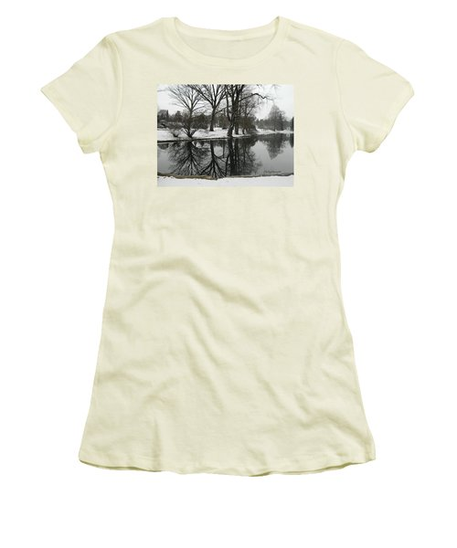 Women's T-Shirt (Junior Cut) featuring the photograph Reflection Pond Spring Grove Cemetery by Kathy Barney