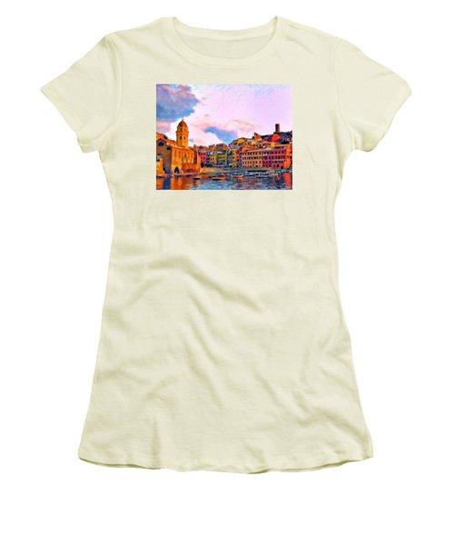 Relaxing Around Vernazza Women's T-Shirt (Junior Cut) by Michael Pickett