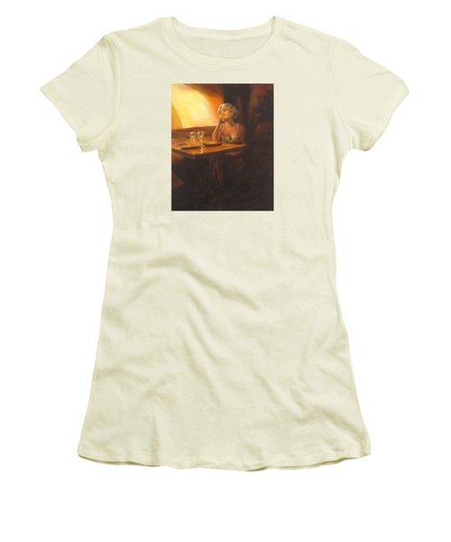 Rendevous At The Indian Restaurant Women's T-Shirt (Junior Cut) by Connie Schaertl