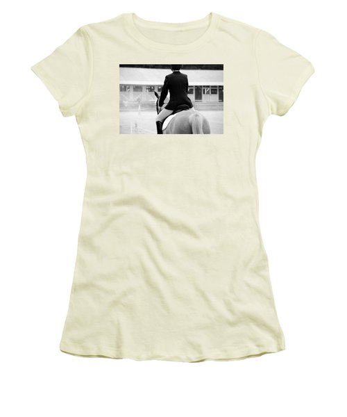 Rider In Black And White Women's T-Shirt (Athletic Fit)