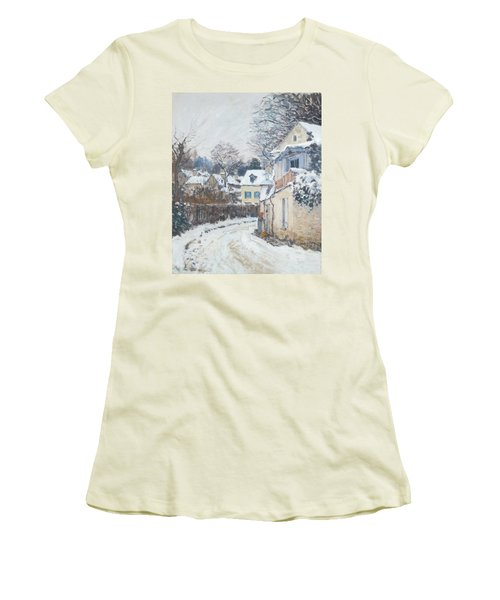 Road Louveciennes Women's T-Shirt (Junior Cut) by Alfred Sisley