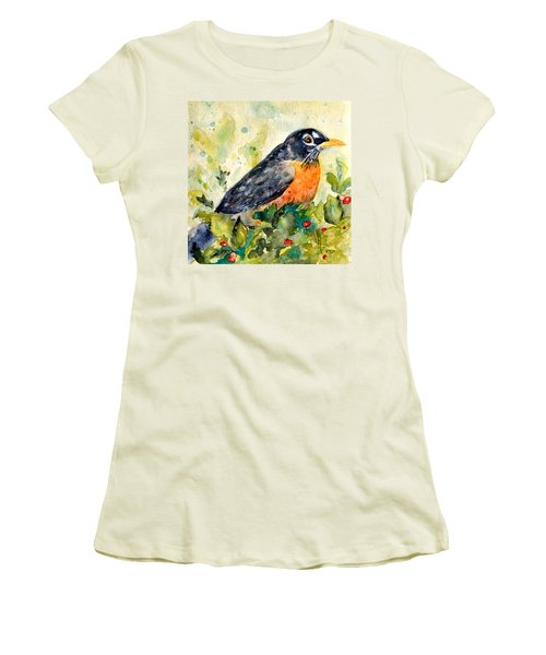 Women's T-Shirt (Junior Cut) featuring the painting Robin In The Holly by Beverley Harper Tinsley