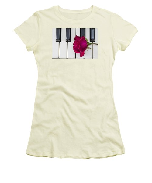 Rose Over Piano Keys Women's T-Shirt (Athletic Fit)