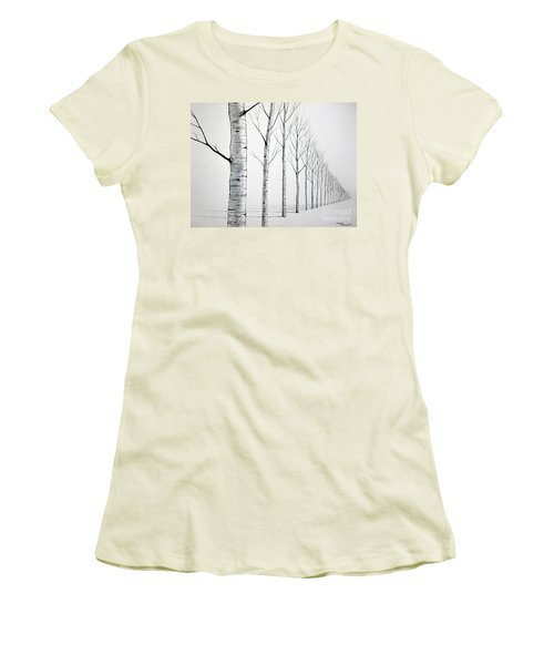Row Of Birch Trees In The Snow Women's T-Shirt (Athletic Fit)