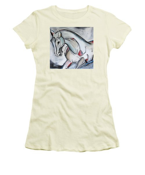 Women's T-Shirt (Junior Cut) featuring the painting Running Wild by Nicole Gaitan