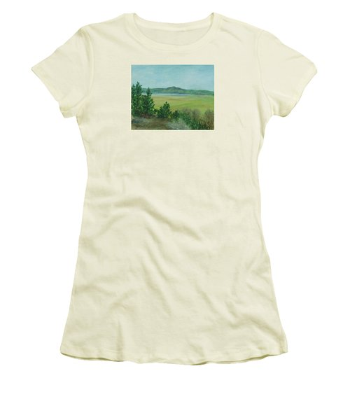 Rural Landscape Art Original Colorful Oil Painting Swan Lake Oregon  Women's T-Shirt (Athletic Fit)