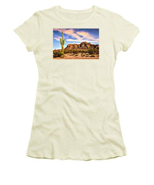 Saguaro Superstition Mountains Arizona Women's T-Shirt (Junior Cut) by Bob and Nadine Johnston