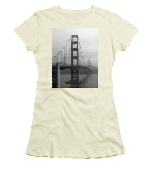 Sailboat Passing Under Golden Gate Bridge Women's T-Shirt (Junior Cut) by Connie Fox