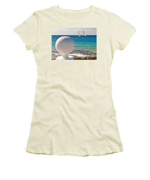Sailboats Racing In Cozumel Women's T-Shirt (Junior Cut) by Mitchell R Grosky