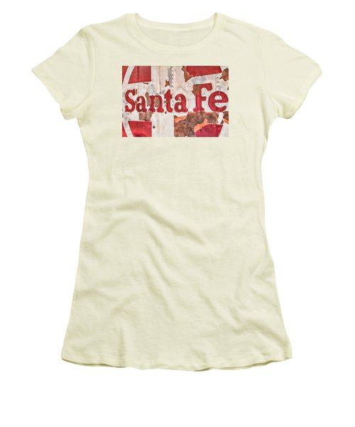 Santa Fe Vintage Railroad Sign Women's T-Shirt (Athletic Fit)