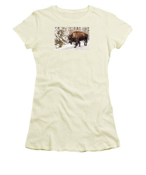Women's T-Shirt (Athletic Fit) featuring the photograph Scary Bison by Sue Smith