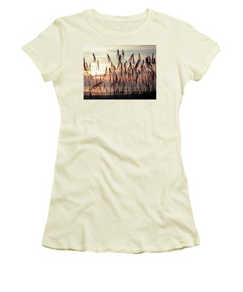 Fabulous Blue Sea Oats Sunrise Women's T-Shirt (Junior Cut) by Belinda Lee
