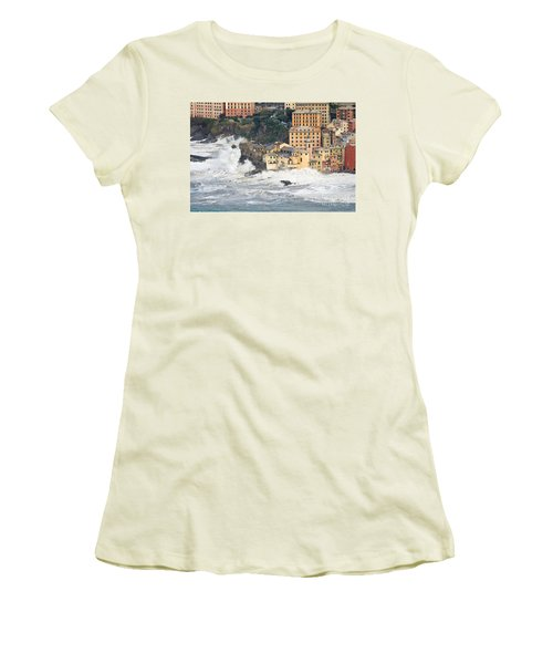 Women's T-Shirt (Junior Cut) featuring the photograph Sea Storm In Camogli - Italy by Antonio Scarpi