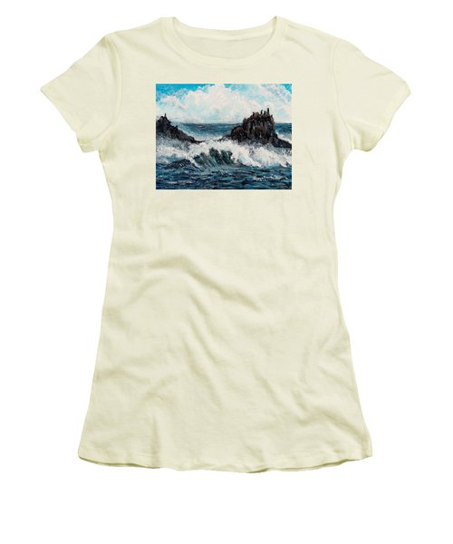 Women's T-Shirt (Junior Cut) featuring the painting Sea Whisper by Shana Rowe Jackson
