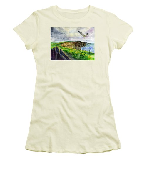 Seagulls At The Cliffs Of Moher Women's T-Shirt (Athletic Fit)