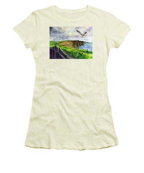 Seagulls At The Cliffs Of Moher Women's T-Shirt (Junior Cut)