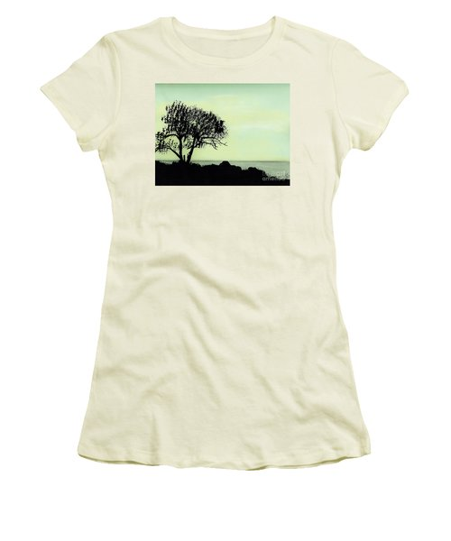 Women's T-Shirt (Junior Cut) featuring the drawing Seashore Silhouette by D Hackett