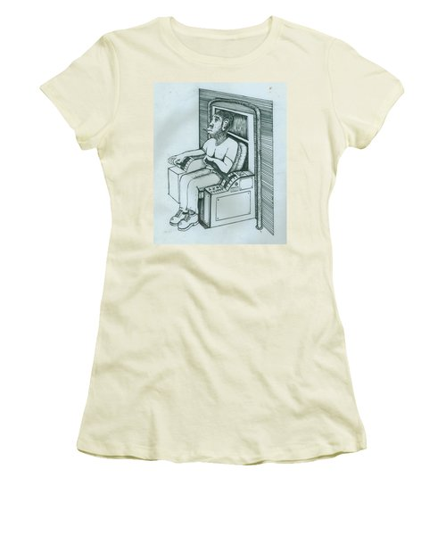 Seated Monkey Sketch Women's T-Shirt (Athletic Fit)