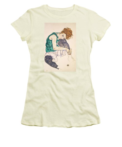 Seated Woman With Legs Drawn Up. Adele Herms Women's T-Shirt (Junior Cut)