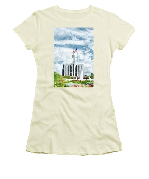 Women's T-Shirt (Junior Cut) featuring the painting Seattle Temple 1 by Greg Collins