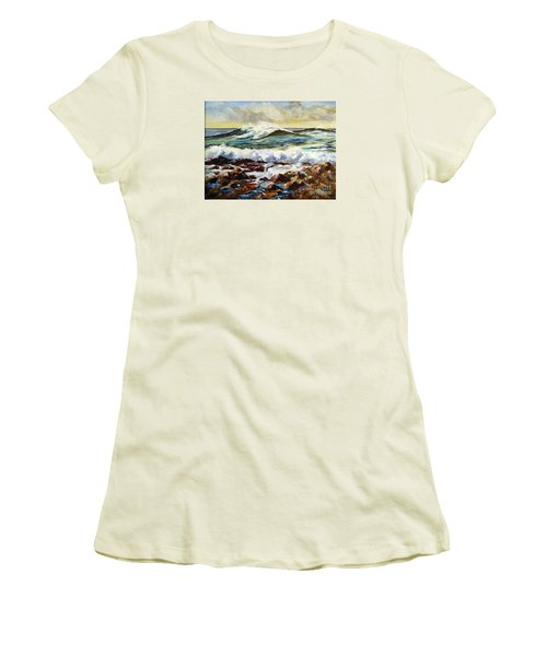 Women's T-Shirt (Junior Cut) featuring the painting Seawall by Lee Piper