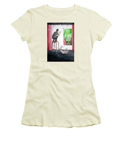 Shaping The Peace Listen With Music Of The Description Box Women's T-Shirt (Junior Cut) by Lazaro Hurtado