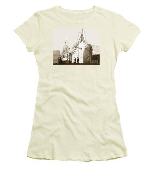 Women's T-Shirt (Junior Cut) featuring the photograph Steam Ships San Francisco California   Circa 1900 Historical Photo by California Views Mr Pat Hathaway Archives