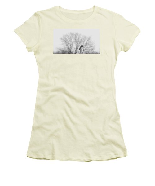 Short-eared Owl In Black And White Women's T-Shirt (Athletic Fit)