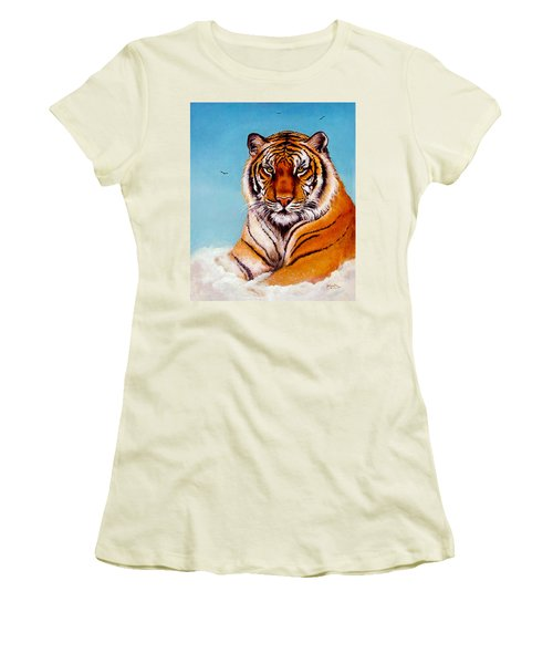 Women's T-Shirt (Junior Cut) featuring the painting Siberian King Tiger by Bob and Nadine Johnston