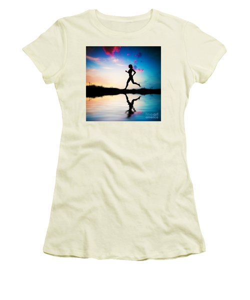 Silhouette Of Woman Running At Sunset Women's T-Shirt (Athletic Fit)
